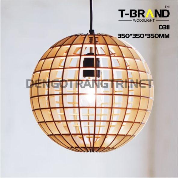 đèn gỗ thả trần phòng khách
