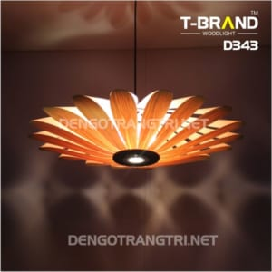 đèn gỗ thả trần nhà hàng